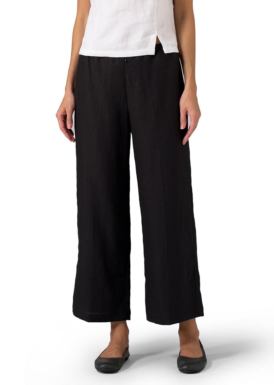 Vivid Linen Wide Ankle Length Cropped Pants