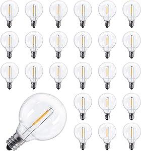 25 Pack Shatterproof Led G40 Replacement Bulbs, E12 Screw Base Led Globe Light Bulbs for Patio Garden String Lights, Equivalent to 5 Watt Clear Light Bulbs