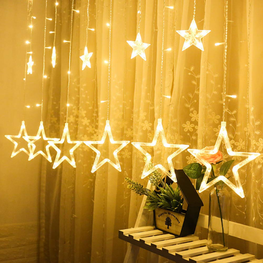 ALOVECO Star Curtain Lights with Remote, 12 Stars 138 LEDs Window Curtain String Lights Waterproof with 8 Flashing Modes Decoration for Christmas, Wedding, Party, Home, Patio Lawn, Warm White by ALOVECO (Image #3)