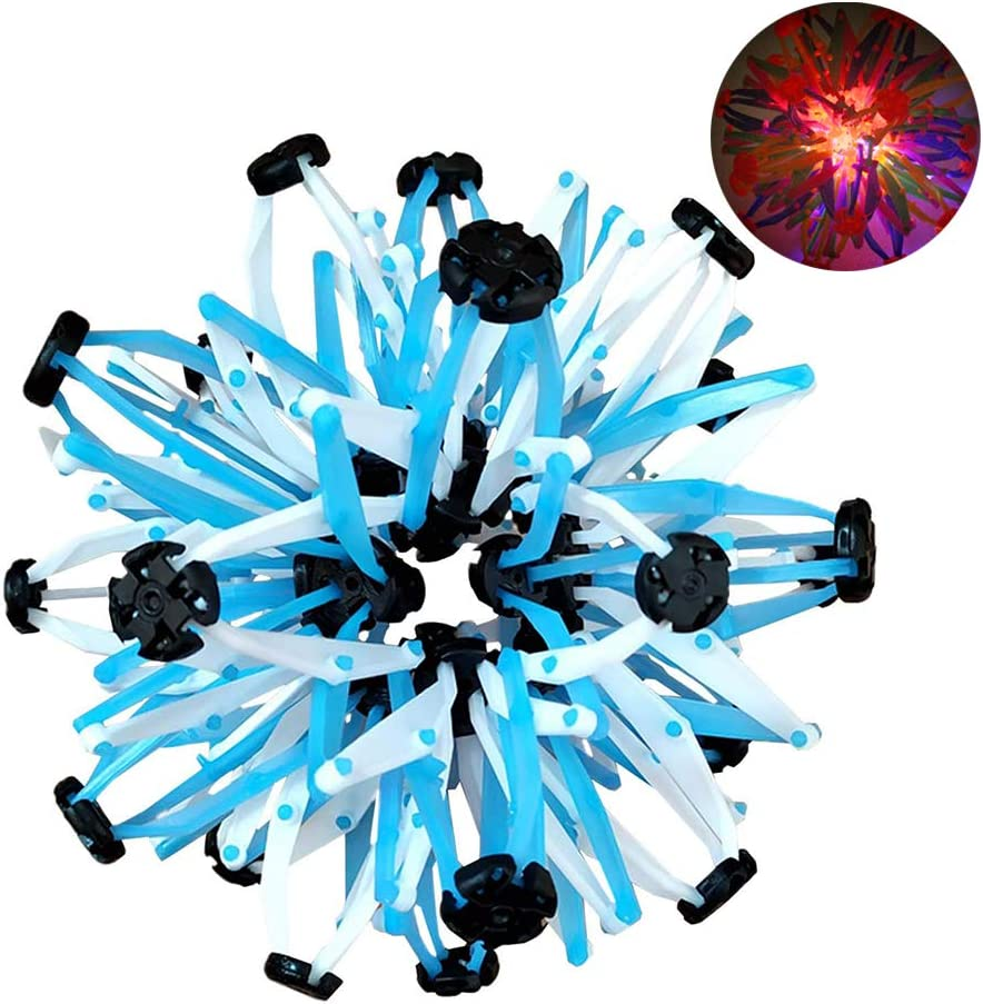 BSMEAN Expand Ball Blue Plastic Stretch Magic LED Ball Sphere Toy Rings Stretch Multi Colors Expanding Ball Toys for Children Adults