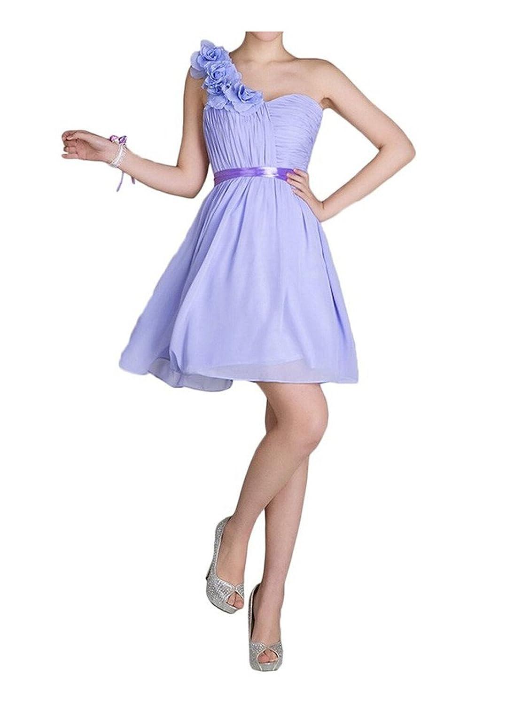 AngelDragon One-Shoulder Lavender Bridesmaid Dress Floral Short Homecoming