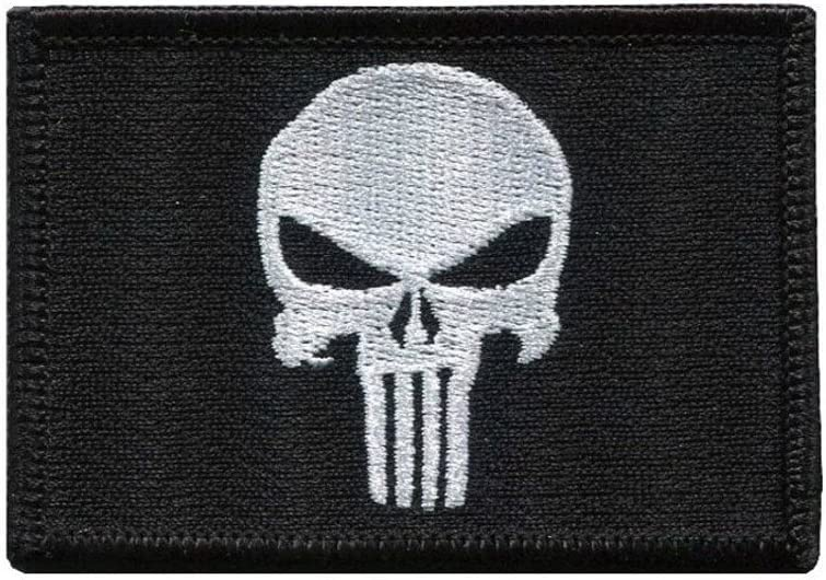Titan One Europe Tactical Black Punisher Skull Military Morale Patch Castigador Parche T/áctico