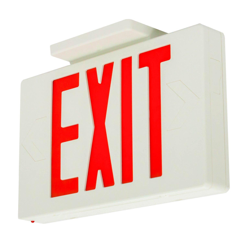 LFI Lights - UL Certified - Hardwired Red LED Self Testing Exit Sign - Battery Backup Emergency Lighting - LEDRBBST