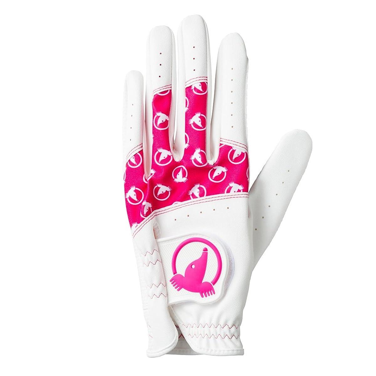 [해외] 혼마 골프 골프 글러브 HONMA 레이디스 글러브 양손용 컬러풀 두더지 화이트/핑크 19CM 레이디스 GCB-6701 화이트