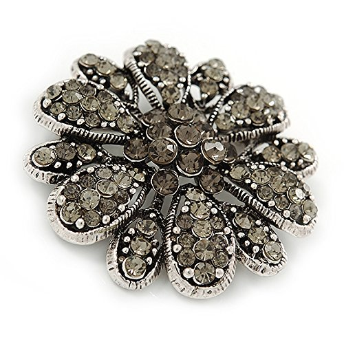 Avalaya Vintage Inspired Grey Coloured Austrian Crystal Floral Brooch In Antique Silver Tone - 43mm D 0tJp6CLEY
