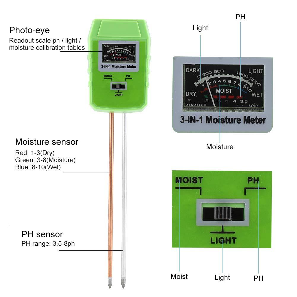 Medidor de humedad 3 en 1 Medidor de humedad Kit de probador de suelo Niveles de PH Temperatura Luz solar Instrumento de inspecci/ón Ideal para c/ésped de jard/ín agr/ícola