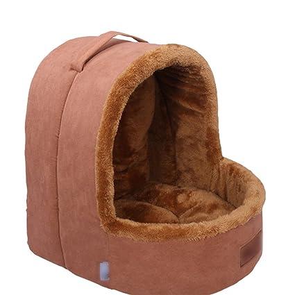 Yuncai Elegante Afelpado Perro Gato Casa Nido Suave Cómodo Caliente Cama para Mascotas Portátil Yurts Marrón
