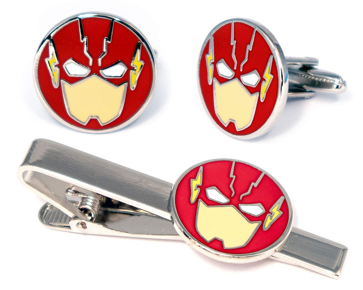 SharedImagination Flash Tie Clip, The Justice League Cufflinks, DC Comics Jewelry, Minimalist Batman vs Superman Cuff Links Link, Marvel Avengers Tie Tack, Groomsmen Gift Wedding Party