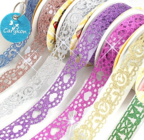 Scrapbooking Stickers Borders - Carykon 7 Rolls Self Adhesive Bling Glitter Lace Tape Masking DIY Scrapbooking Phone Decorating Bud Silk Staionery Stickers