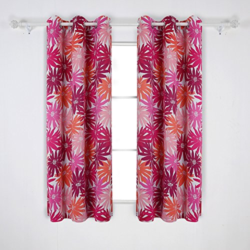 Deconovo CT1147D-1 Floral Print Grommet Top Drapes Spring Pattern Curtains for Dining Room 1 Pair, 42×63 Inch, Fuschia and Orange For Sale