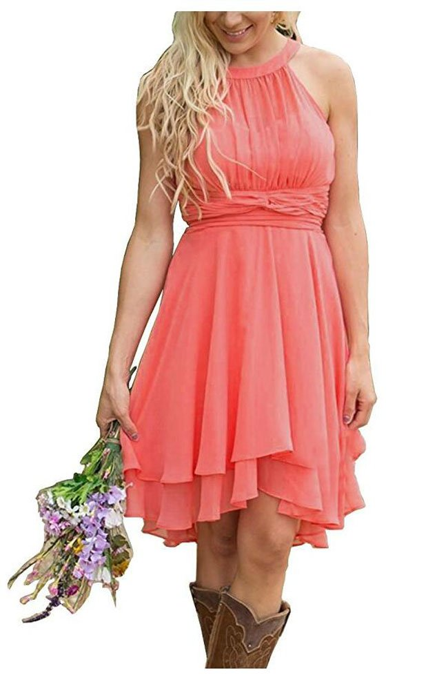 Aokaixin Plus Size Short Country Bridesmaid Dresses Western Wedding Guest  Wears
