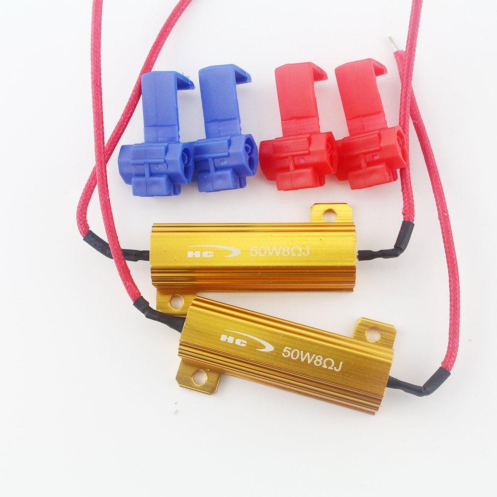 GrandviewTM 2PCS 50W 8ohm LED Load Resistors 12VDC for LED Turn Signal Lights or LED License Plate Lights or DRL(Fix Hyper Flash, Warning Cancellor)