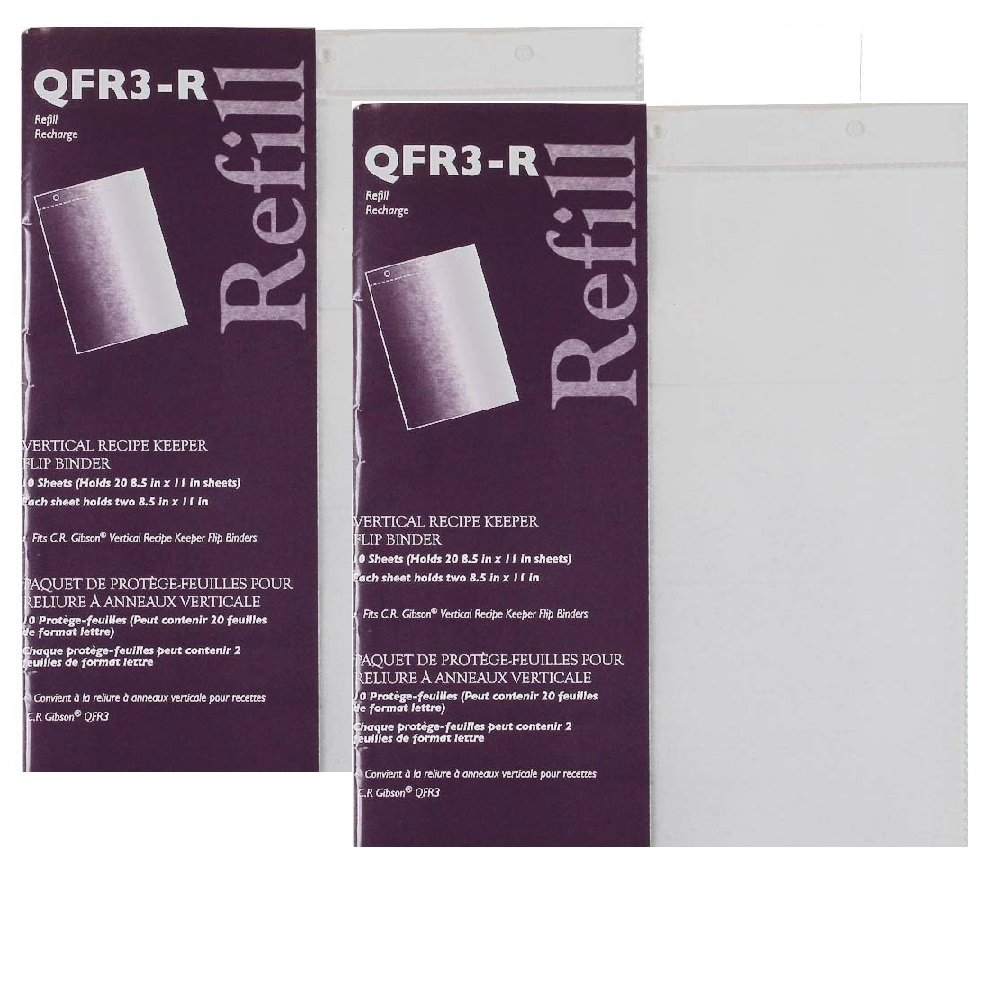 C.R. Gibson 10 Count Refill for Vertical Flip Recipe Keeper - 2 pack (2) by C.R. Gibson