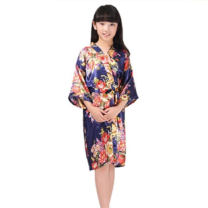 ECHERY Chica del Satén de Seda del Kimono Túnica de Manga Corta de Flores Albornoz albornoz