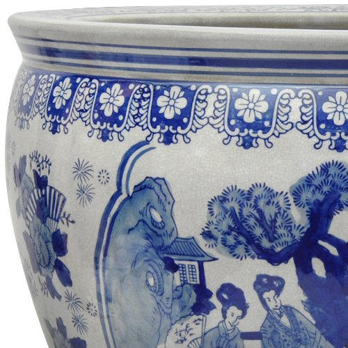 Oriental Furniture 16'' Ladies Blue & White Porcelain Fishbowl by ORIENTAL FURNITURE (Image #1)