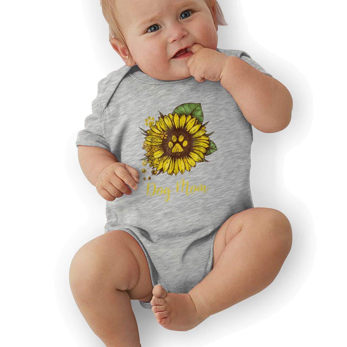 Sunflower Dog Mom Paw Baby Boys Girls Jumpsuits Short Sleeve Romper Bodysuit Bodysuit Jumpsuit Outfits Gray