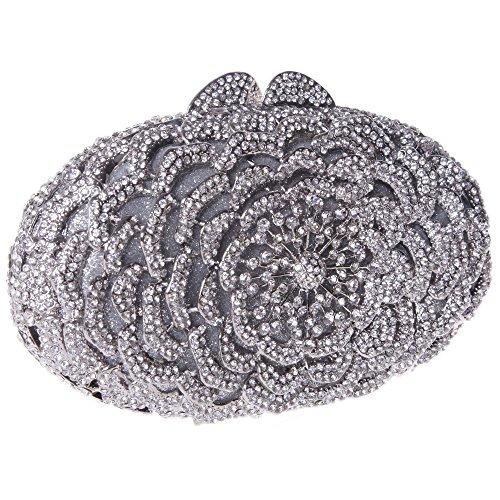 Damen Clutch Abendtasche Handtasche Geldbörse Luxus Funkelt Glitzer Oval Lang Tasche mit wechselbare Trageketten von Santimon Schwarz Santimon b8tQJaeDRC