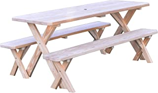 product image for Pressure Treated Pine Unfinished 6 Foot Cross Leg Picnic Table with Detached Benches