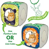Kitty City Jungle Cat Cube Combo, Collapsible Cat Cube, Cat Bed, Tunnel, Cat Toys