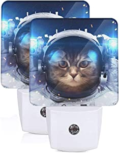 Set of 2 Led Night Lights, Cat Outer Space Blue Galaxy Auto Dusk-to-Dawn Sensor Night Lamp Plug-in Home Decorative for Adult