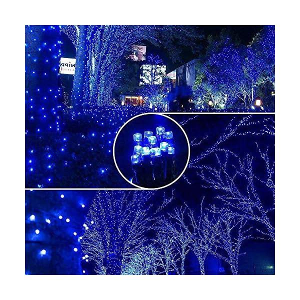EPESL Luci natalizie 12m 120 leds con 8 modalità di memoria end to end estensibile catene luminose esterni ed interni decorazione per giorno di natale alberi casa Halloween festa giardino - blu 7 spesavip