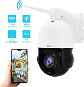Outdoor PTZ WiFi 5MP 20X Optical Zoom Wireless IP Camera for Security Surveillance with Build-in Two-Way Audios Support IP66 Waterproof,ONVIF Protocol,IR Night Vision and Automatic Cruise
