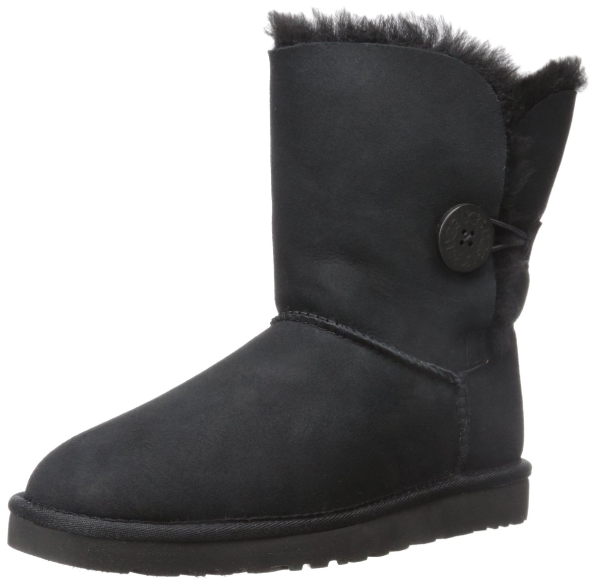 UGG Australia Girls' Bailey Button Sheepskin Fashion Boot Black 5 M US