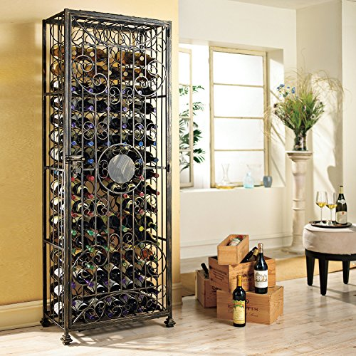 Wine Enthusiast 96-Bottle Antiqued steel Wine Jail (Right Hinged Door Opens Left To Right) by Wine Enthusiast