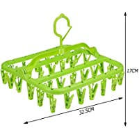 Cloth Hanger with Clips and Drip Laundry Drying hanger Rack with 32 Strong Pegs Green