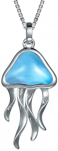 Sterling Silver Larimar Jellyfish Necklace Pendant with 18 Box Chain