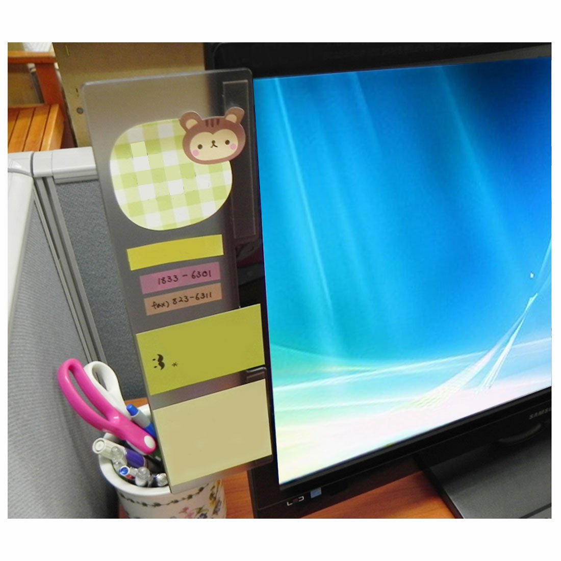 Pack of 2 Left /& Right Computer Monitors Screen Acrylic Message Boards Memo Pads GARASANI