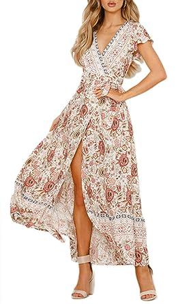 ea416ef4af Leslady Robe Femme Eté Longue Imprimé Boheme Chic Soirée Robe Élégant  Floral Robe Vintage pour Mariage Cocktail Plage Printemps: Amazon.fr:  Vêtements et ...