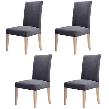 Fesselnd YISUN 4er/6er Set Stretch Kurze Esszimmer Stuhlhussen, Abnehmbare Waschbar  Stuhlbezug Stuhl Schutzhülle Für