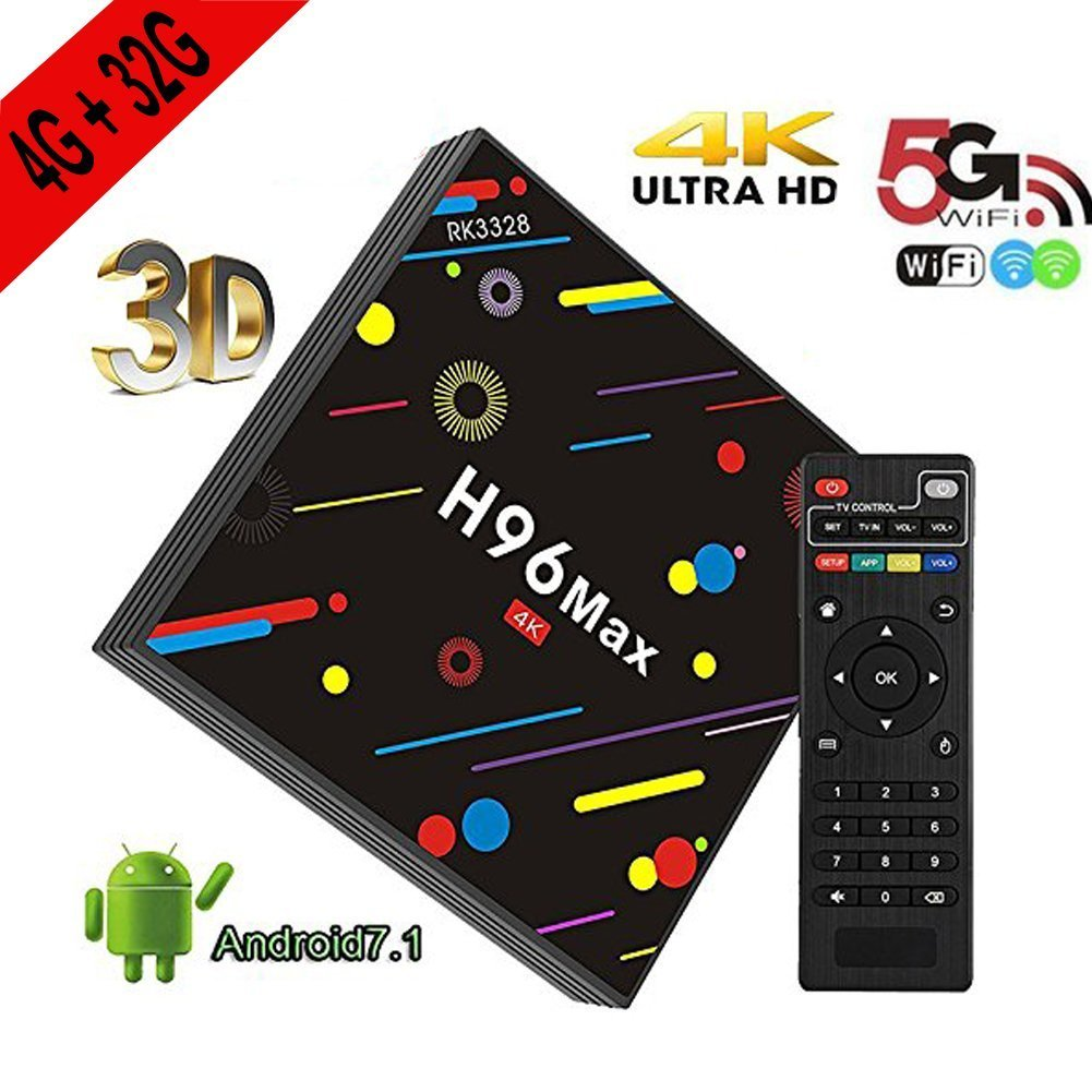 [4G 32G H96 MAX TV BOX] Android Box H96 MAX H2 Android 7.1 TV BOX with RK3328 Quad Core Support 2.4G/5G Dual Wifi/100M LAN/BT 4.0/3D/H265 Smart TV Box
