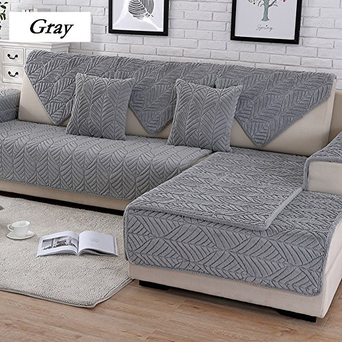 DW&HX Soft suede Strapless Heavyweight Sofa slipcover Furniture protector,Perfect for pets and kids 3 seats Non-slip Quilted sofa protector -D (3 Piece Sectional Arm Chair)