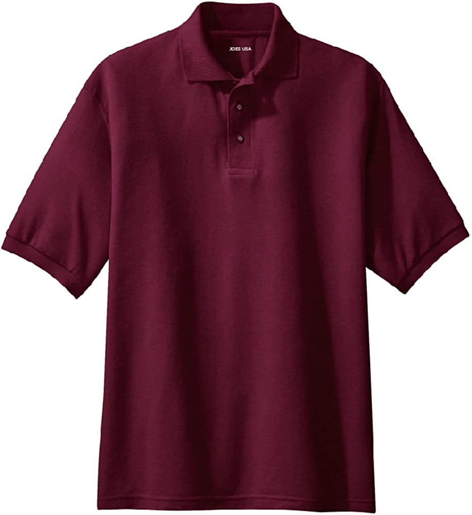 Joe's USA Men's Classic Polo Shirts - Tall 2X-Large 2XLT (47-49) - Maroon