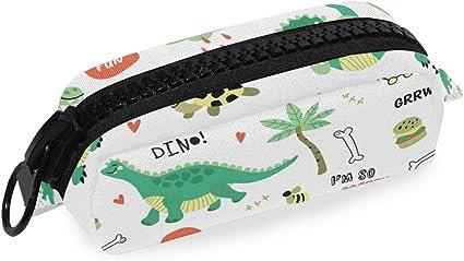 Estuche con cremallera con diseño de dinosaurios verdes con diseño de dinosaurios verdes: Amazon.es: Oficina y papelería
