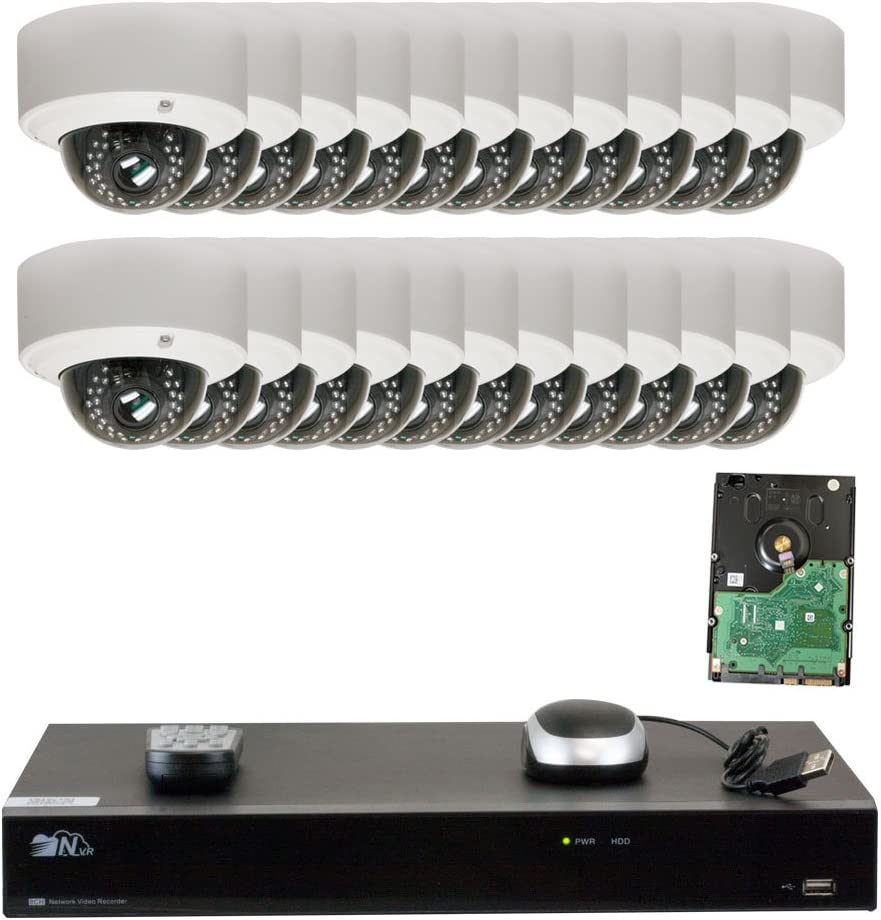 GW Security 32CH H.265 4K NVR 5-Megapixel 2592 x 1920 4X Optical Zoom Network Plug Play Video Security System, 24pcs 5MP 1920p 2.8-12mm Motorized Zoom POE Weatherproof Dome IP Cameras