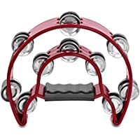 ROSENICE Pandereta de doble fila de media luna de metal, sonajeros musicales, pandereta de mano (rojo)