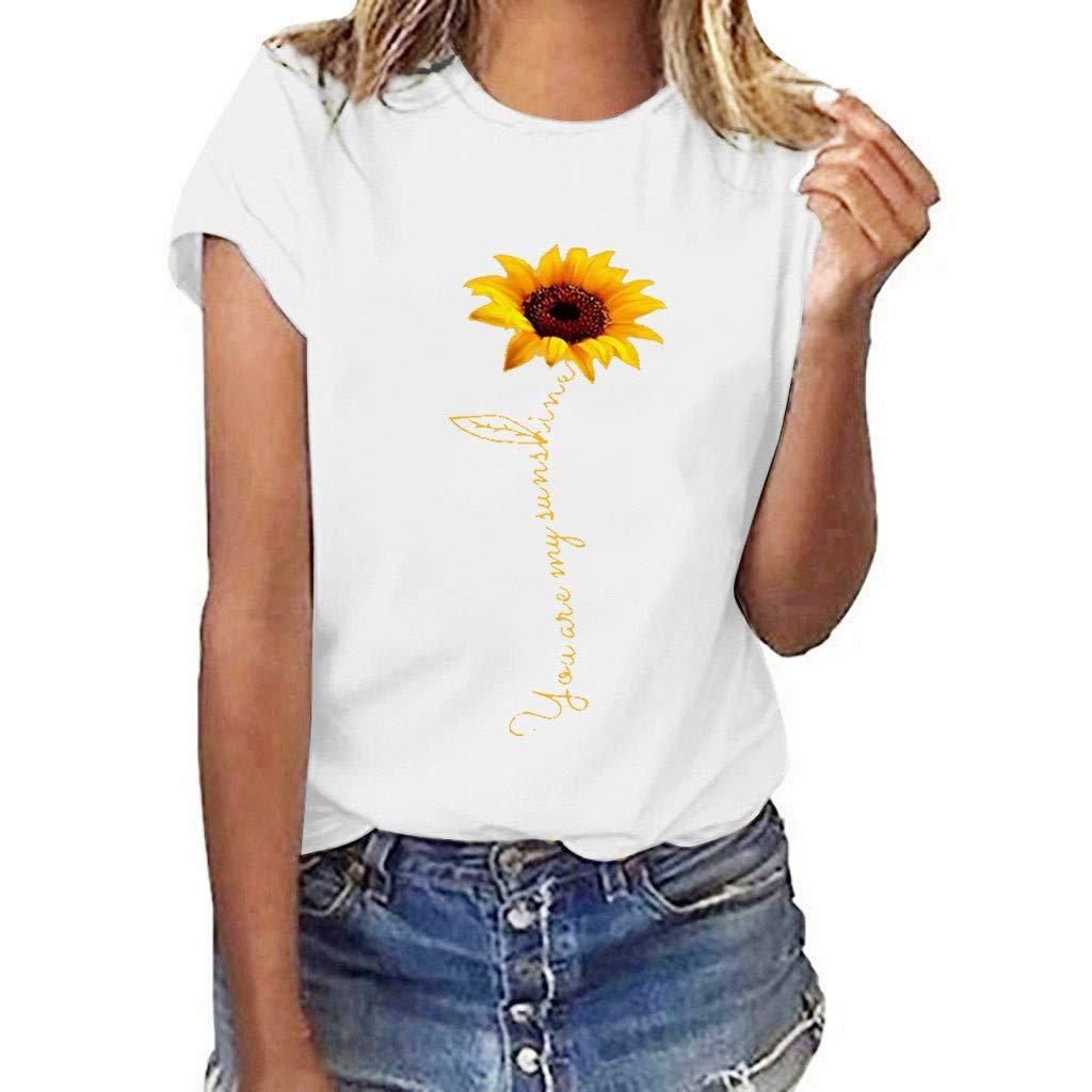 FEDULK Womens Loose Casual Tees Sunflower Print Short Sleeve O Neck Plus Size T-Shirt Blouse Tops