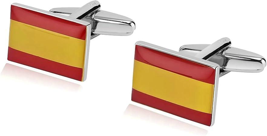 Beydodo Gemelos Acero Inoxidable Gemelos Camisa Bandera de España Cuadrada Gemelos de Hombre para Camisa Gemelos Camisa Estilo 6