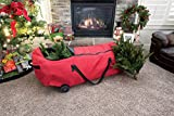 Premium Polyester Christmas Tree Storage Bag. 6 - 9 ft. Artificial Tree heavy duty Storage Duffle Bag with EZ Rolling wheels - Patent Pending Oversized rolling wheels & axel system