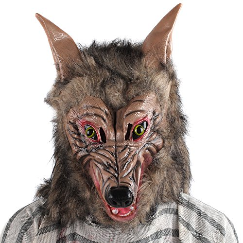 Werewolf Costume Mask Adult Man Woman Teen Full Moon Scary Horror Costume Party Fancy Dress Hairy Full Head