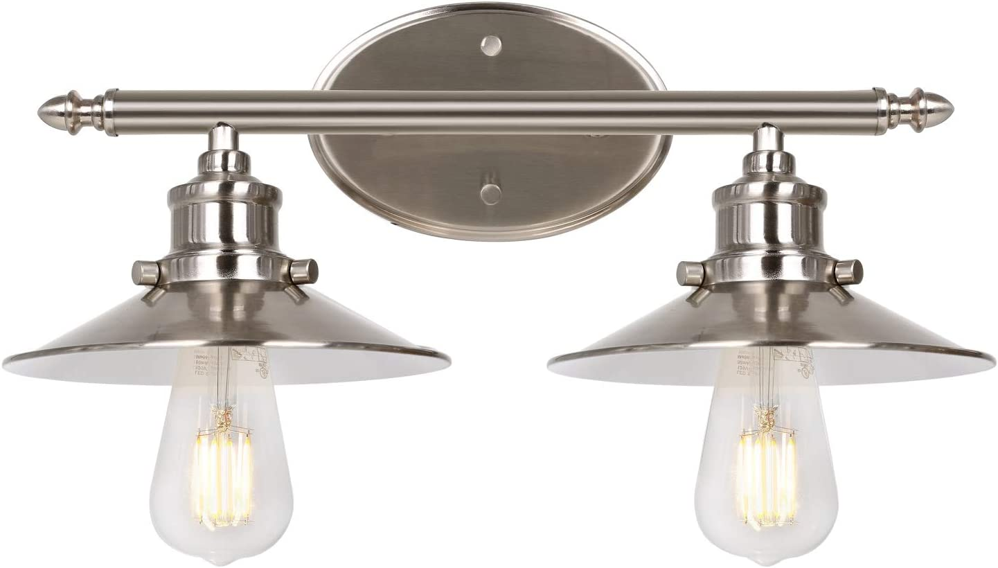 2 Light Retro Vanity Light Brushed Nickel Bathroom Light Fixtures With Metal Shades Sconce Wall Lighting For Bedroom Powder Room And Hallway Etl Listed Bulb Not Included Amazon Com