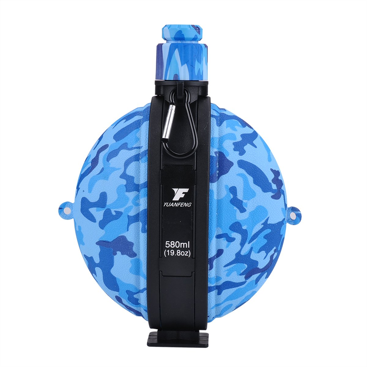 Fengyuan Collapsible Water Bottle, Yuanfeng Militaryポータブルシリコン水ケトルCanteenコンパス付きボトルキャップスポーツとアウトドア活動用BPAフリー19.8 Oz (Army Blue) B07DVMFM7Q