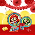 Super Mario Party Childrens Birthday Party Supplies - Tableware and Decoration Pack (16)