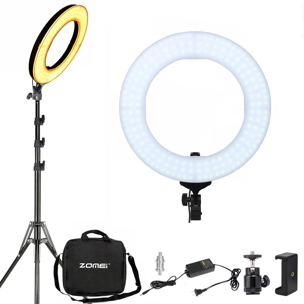 Dimmable LED Ring Light with Stand ZOMEI 14 inch 41W Dimmable Photography Lights YouTube Lighting Makeup Lighting Professional Studio Photo Shoot Light for Camera Smartphone iPad, etc