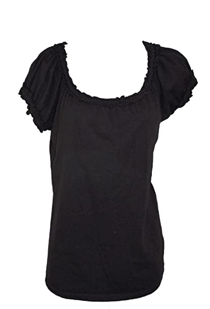 01998cfe8cb Grace Elements Women's Ruffle Tee (Black, Small) at Amazon Women's ...