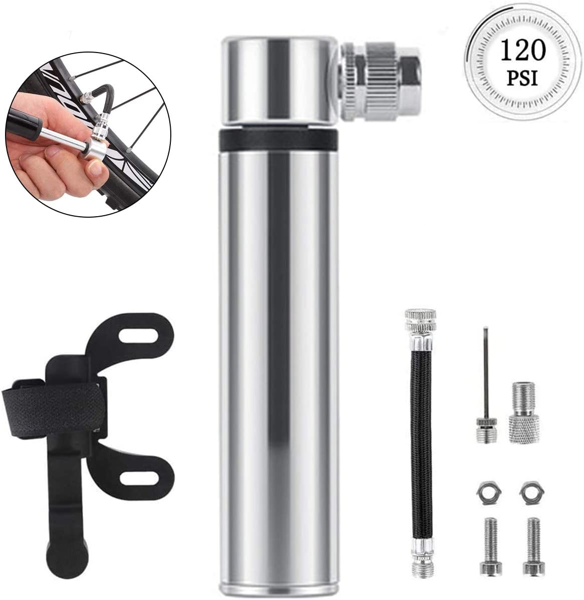 Mountain Bikes,Basketball VARWANEO Bike Pump Portable Mini Bicycle Pump 120 PSI-Fits Presta and Schrader Ball Pump with Needles Super Fast Tyre Inflation Frame Mounted Air Pump for Road