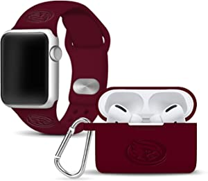 AFFINITY BANDS Iowa State Cyclones Debossed Watch Band & Case Cover Combo Package Compatible with Apple Watch and AirPods PRO - 42mm/44mm Maroon/Maroon
